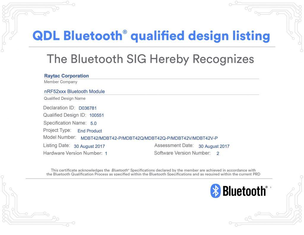 Raytac Bluetooth® 5 QDID取得