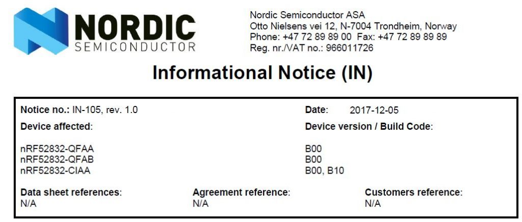 nRF52832 Rev.02モジュール移行完了のお知らせ